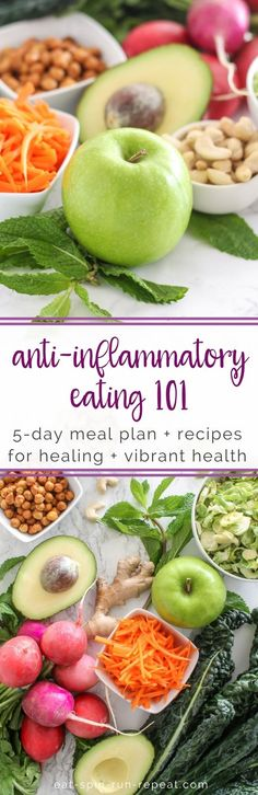 Anti-Inflammatory Eating 101 - Your essential guide to the anti-inflammatory foods, recipes and must-know details when starting an anti-inflammatory diet. This guide also includes a 5-day meal plan to help you get started, with anti-inflammatory breakfasts, lunches, dinners and snack ideas. All recipes are gluten-free and dairy-free. Source: Eat Spin Run Repeat // @eatspinrunrpt
