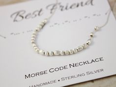 Gift for Best Friend necklace Morse Code necklace by SilverStamped #bestfriend #morsecode #morsecodenecklace #silvernecklace #christmasgifts #thankyougift #jewelry #minimalist #beads #silverstamped #Christmasgifts