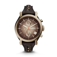 I love fossil. Original Boyfriend Chronograph Leather Watch \u2013 Dark Brown