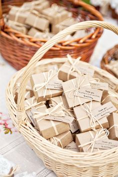 Love the natural look of these paper boxes wrapped with raffia