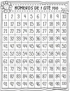 Números de 1 a 100 - Atividades Para Imprimir - Blog Cantinho Alternativo