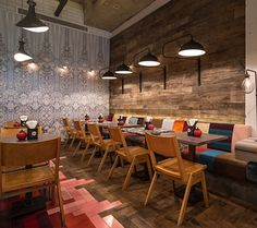 Moreno Masey Architecture + Interiors - GBK Angel, Restaurant Bar Awards, 2014 #MorenoMasey #GBK #Angel #Restaurant #Islington #ResBarDesign #Interior #Design #Wallpaper #Timber #Herringbone #Cladding #Reclaimed #Chairs #Banquette #Patchwork #Pendant #Lights