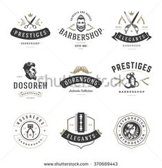 Barber Shop Logos Vector Templates Set. Labels, Badges and Design Elements. Barber shop Logo, Beauty Salon Logo, Hairdresser Logo. Barber Pole Silhouette, Scissors Silhouette, Razor Silhouette.