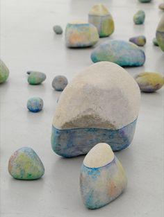 color wash rocks - watercolor and acrylic varnish