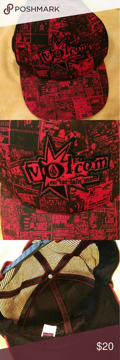 Volcom trucker hat styles red print w black snap Euc sat in storage I don't think it was ever worn no smell stain sweat drips rips tares volcom genuine brand adjustable snap back red w black trim   Adult or teen size not kids Volcom Accessories Hats