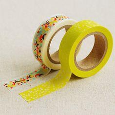 2 Set  Frank Shiny Yellow Dot Adhesive Masking by WonderlandRoom, $6.65