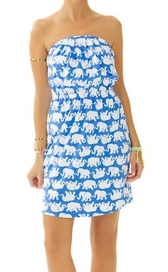 Lilly Pulitzer Windsor Strapless Pull-On Dress in Tusk In Sun