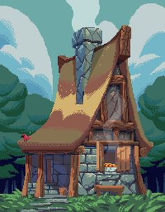 Pixel art looks so neat, so I gotta try it once in a while. This here is a small cottage in the forest.. With some fresh pie cooling off in the window. by PowerSimon