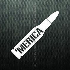 Merica Bullet Bumper Sticker Vinyl Decal America Car Truck Decal fit Jeep Dodge