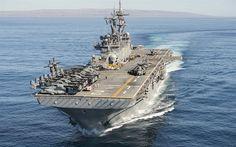 Download wallpapers USS Essex, LHD 2, amphibious assault ship, Wasp-class, US Navy, American modern warship, USA
