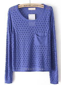 To find out about the Blue Long Sleeve Hollow Pocket Pullover Sweater at SHEIN, part of our latest Sweaters ready to shop online today! Cute Sweaters, Winter Sweaters, Sweater Weather, Cheap Fashion, Latest Fashion For Women, Womens Fashion, Sweater Hoodie, Pullover Sweaters, Beautiful Outfits
