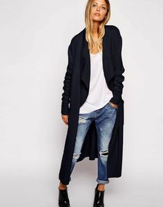 Longline Waterfall Cardigan In Brushed Knit