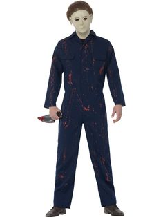 Halloween Michael Myers Costume, Blue, with Jumpsuit, Latex Mask & Knife Halloween H20, Theme Halloween, Halloween Fancy Dress, Adult Halloween, Cool Costumes, Adult Costumes, Halloween Costumes, Costume Ideas, Chucky