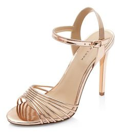 cc77f864410a Metallic Strappy High Heel Sandals from New Look. Rose Gold ...