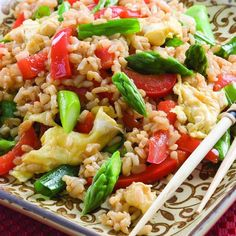 Nothing could be easier than this light version of fried rice. We've used instant brown rice, but if you have leftover cold rice or can pick some up at a Chinese restaurant on the way home, use that instead and skip Step 1.