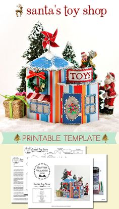 Run by Santa himself! This is a printable Christmas Toy Store template. DIY out of paper, just like Putz villages.