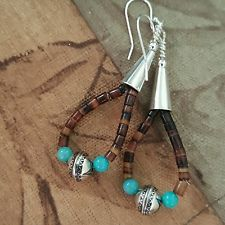 TURQUOISE, HEISHI & STERLING SILVER BENCH BEAD DROP EARRINGS