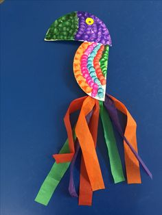 Paper plate parrot Used bingo blotters to paint n tissue paper for colorful tail.