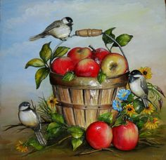 C Steele Collection Porcelain China Info: 5784813471 Apple Painting, Fruit Painting, Clay Wall Art, Scenery Paintings, Fruit Art, Clay Flowers, Arte Floral, Naive Art, Hand Painted Signs