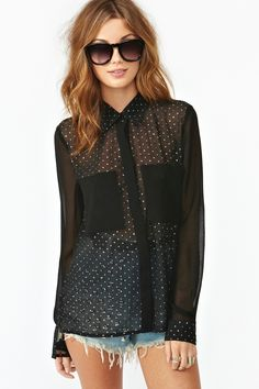 Metallic Dot Blouse