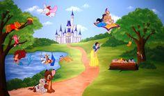 Muurschildering landschap met verschillende Disney-figuren