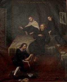 São João da Cruz já enfermo, com chagas nos pés em forma de cruz.