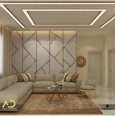 38 Modern Ceiling Design Ideas - When you want to create unique ceiling designs, rope crown molding is perfect for any home. This type of crown molding can add style and class to any . House Ceiling Design, Ceiling Design Living Room, Bedroom False Ceiling Design, Home Ceiling, Home Room Design, Living Room Interior, Home Interior Design, Living Room Designs, Drawing Room Ceiling Design