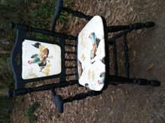 Antique chair with Rooster fabric