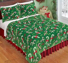 Green Red White Candy Cane Fleece Coverlet Lightweight Blanket.
