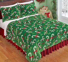 Green Red White Candy Cane Fleece Coverlet Lightweight Blanket.