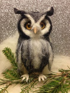 Needle Felted owl handcrafted with 100% wool and a lot of love. Stands about 6 inches tall but can make any size. Custom orders accepted. This