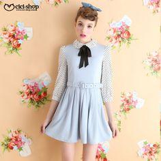 CICI-SHOP2014新款娃娃领蝴蝶结波点七分袖复古连衣裙配腰带1433-淘宝网
