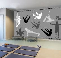 Adesivo de Parede Pilates Painel Clinic Interior Design, Gym Interior, Clinic Design, Home Gym Garage, Gym Room At Home, Medical Office Design, Pharmacy Design, Home Gym Design, Gym Decor