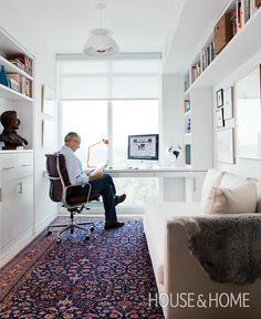Sleek Home Office | House & Home Great use of small space.