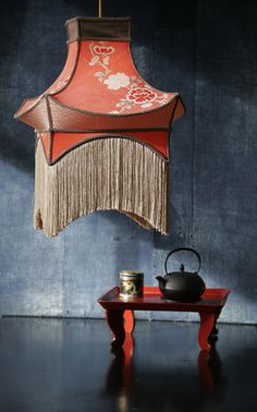 Murano glass lamp with vintage silk shade and glass fringe inspiracin chinesca asian lampshades pagoda lampshade silk pagoda carolina breuer studio carolina chinoiserie japonnaise lampshade collection aloadofball Image collections