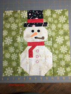 Block 5 is here in the I Wish You a Merry Quilt-A-Long, and it is Snowman by Sherry Shish! It is a fun block! You can find the pattern at Powered by Quilting . As a host, I am presenting my version o Christmas Blocks, Christmas Quilt Patterns, Christmas Quilting, Christmas Fabric, Christmas Wood, Christmas Signs, Christmas Decorations, Christmas Ornaments, Applique Wall Hanging