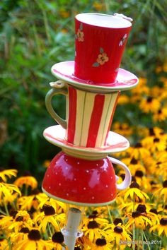 Handpainted Teacup Upcycled Garden Totem