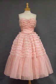 Ruffled Pink & White Chiffon & Lace Strapless Prom Dress