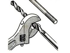 Crescent as Caliper by popularmechanics, 1965: Use an adjustable wrench to determine a bolt's diameter and match the jaw's reading with a corresponding drill bit diameter. #Hack #popularmechanics