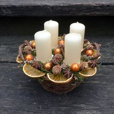 Vánoční+svícen+pomerančový+Průměr+20+cm.