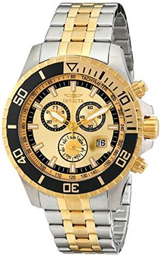 Invicta Mens 13650 Pro Diver Chronograph Gold Tone Dial Two Tone Stainless Steel Watch * More info could be found at the image url.