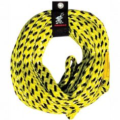 """Super Strength Tube Rope  This super strength 16 strand, 7/8 inch x 60 foot tube tow rope is rated at 6,000 pounds tensile strength! It's the strongest tube rope your money can buy, and is engineered to pull 5 riders. The """"killer bee"""" color scheme is easy to spot in any water conditions. A Rope Keeper is included for tangle-free storage. Great for towing boats too!"""