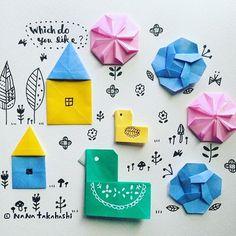 トリさん大きいお家と小さいお家ドッチがイイ?(*^^*) Which do you like? #illustration  #origami  #bird #house #birdhouse  #paperflower  #papercraft #折り紙 #小鳥 #バードハウス #ペーパークラフト #お花 #鳥小屋 #エプロン #たかはしなな