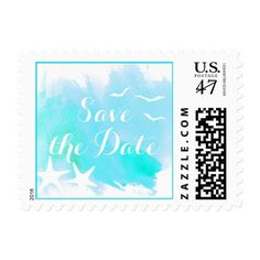 Watercolor Wedding Save the Date Aqua watercolor beach wedding Save the Date Postage Stamp