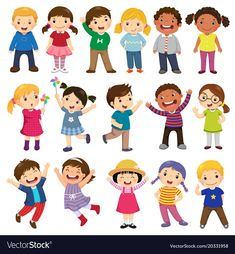 Multicultural children in different positions isolated on white background - Happy kids cartoon collection. Multicultural children in different positions isolated on white background Happy Cartoon, Cartoon Kids, Drawing For Kids, Art For Kids, Image Clipart, Mom Tattoos, Super Hero Costumes, Jack Kirby, Super Happy