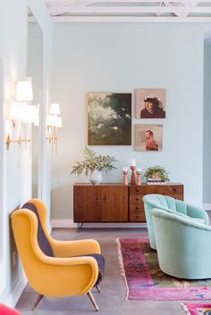 Colorful walls + chairs