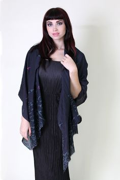 Women's Claire Birds Midnight Blue Silk Cotton Fashion Scarf - Anika Dali // Trendy Fashion Scarves / Shawls / Evening Wraps. Unique Holiday Gift Ideas for Women. Beautiful Pretty Scarves.