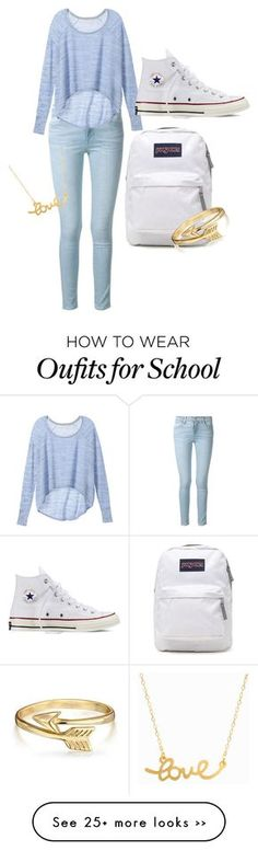 """School"" by gracekimberly on Polyvore featuring Frame Denim, Victoria's Secret, Converse, JanSport, Bling Jewelry and Minnie Grace"