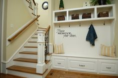 Let these mudroom entryway ideas welcome you home. Instantly tidy up and organize your hallway or entryway with industrial mudroom entryway. Entryway Bench Storage, Entry Bench, Stair Storage, Bench With Storage, Storage Spaces, Storage Ideas, Shoe Storage, Entryway Ideas, Storage Solutions