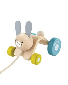 Children will enjoy having this little rabbit hopping together while they walk. When pulled, it will move and hop like a real rabbit. Suitable for children 12 months and up. Rabbit Shop, Pull Along Toys, Plan Toys, Eco Baby, Eco Friendly Toys, Pull Toy, Gross Motor Skills, Box Packaging, Worlds Of Fun